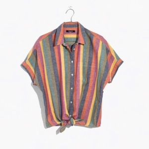 NWT Madewell Rainbow Stripe Tie Front Blouse
